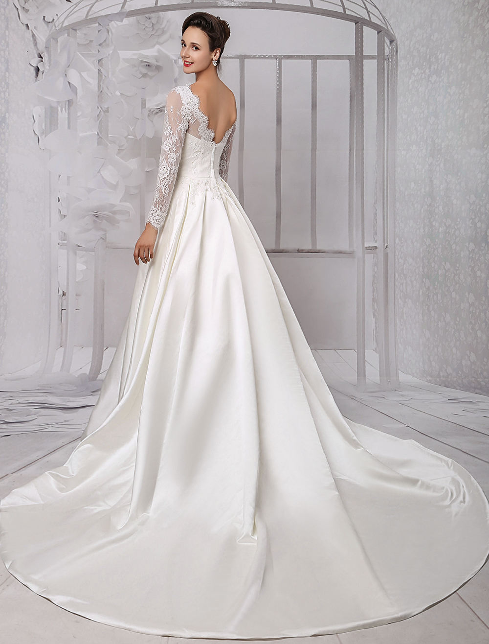 Long Sleeve Lace Wedding Dress Bridal Gown With Cathedral Train Milanoo photo