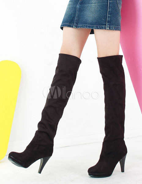 Thigh High Boots Round Toe Suede Women's Knee High Boots thumbnail