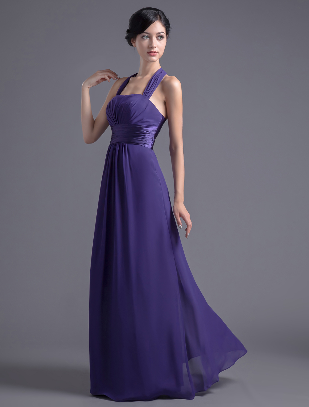 Halter Bridesmaid Dress Royal Purple Prom Dress Empire Waist Chiffon Maxi Party Dress