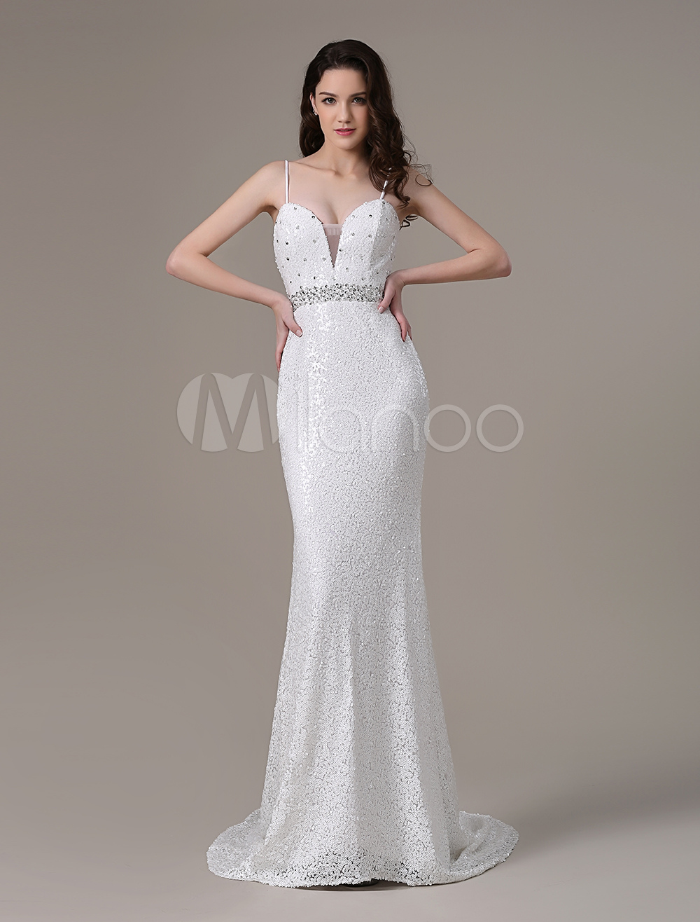 White Prom Dresses 2017 Long Ivory Mermaid Backless Evening Dress Deep V Neck Sequin Beading Party Dress WithTrain