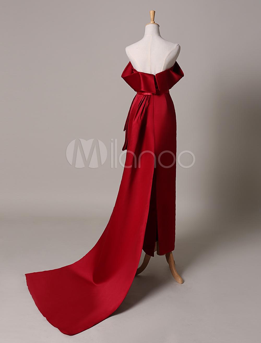 Off The Shoulder Burgundy Satin Venice Film Festival Dress