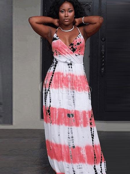 Halter Straps Cotton Dress Boho Beach Long Dress (Women\\'s Clothing Maxi Dresses) photo