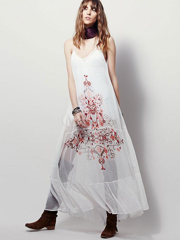 Maxi Dress Strappy Pleated Sleeveless Semi-sheer Bohemian Dress (Women\\'s Clothing Summer Dresses) photo