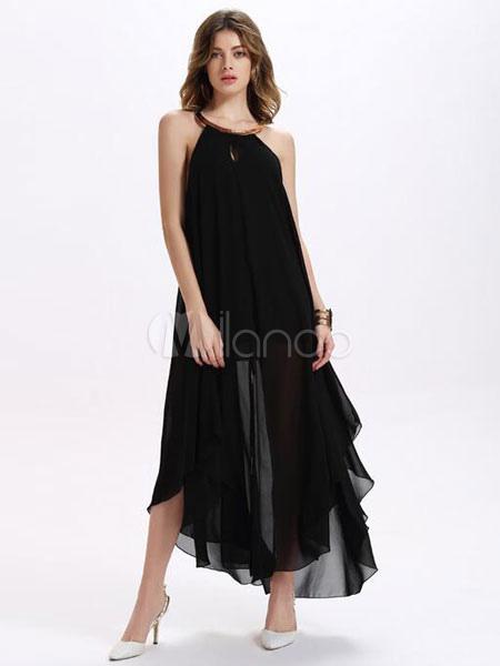 Robe noire longue en chiffon unicolore coupe asym trique for Robe de mariage en trou de serrure lazaro