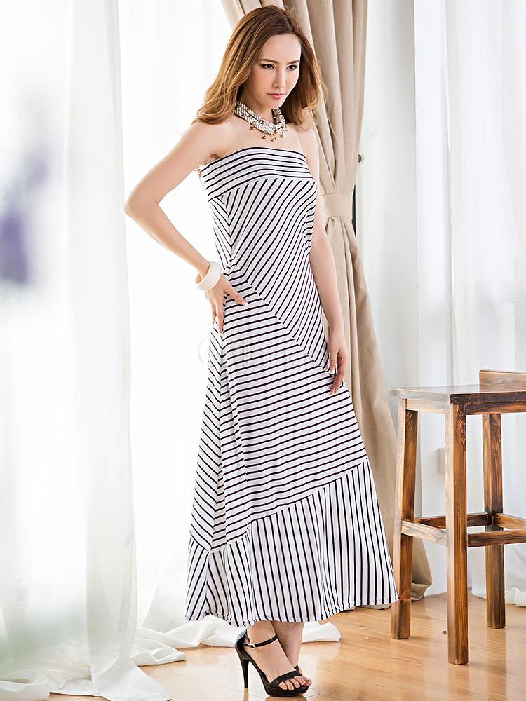 robe longue en rayonne avec rayure v tements journaliers. Black Bedroom Furniture Sets. Home Design Ideas