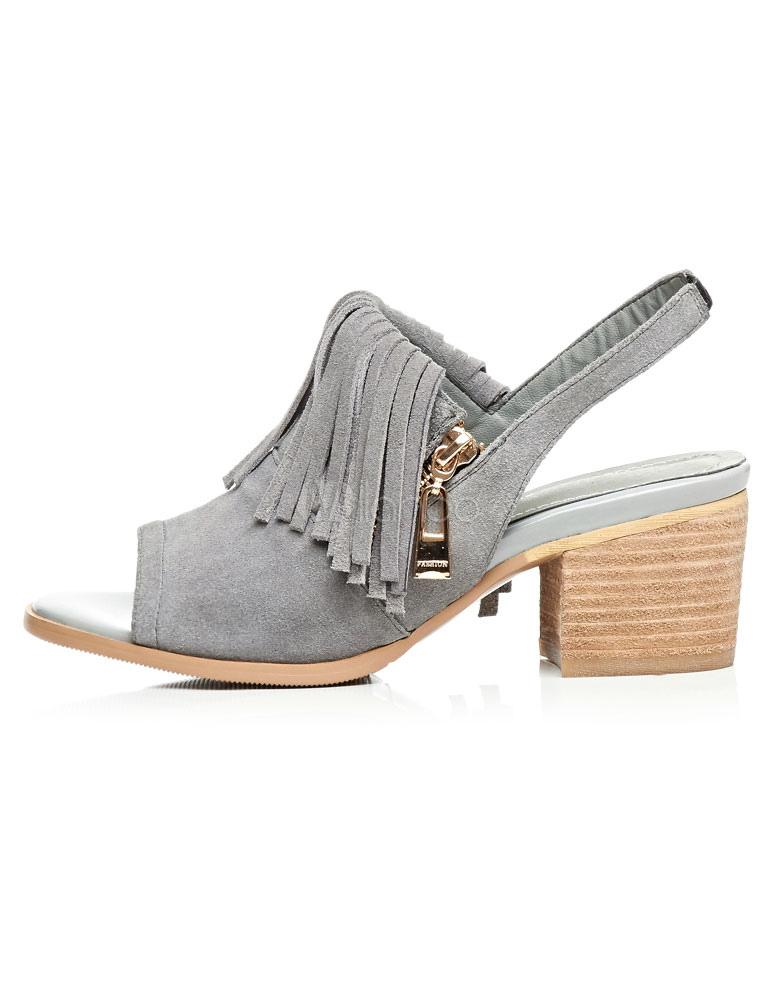 Franja de tacones gruesos de las mujeres sandalias de - Tocones de madera ...