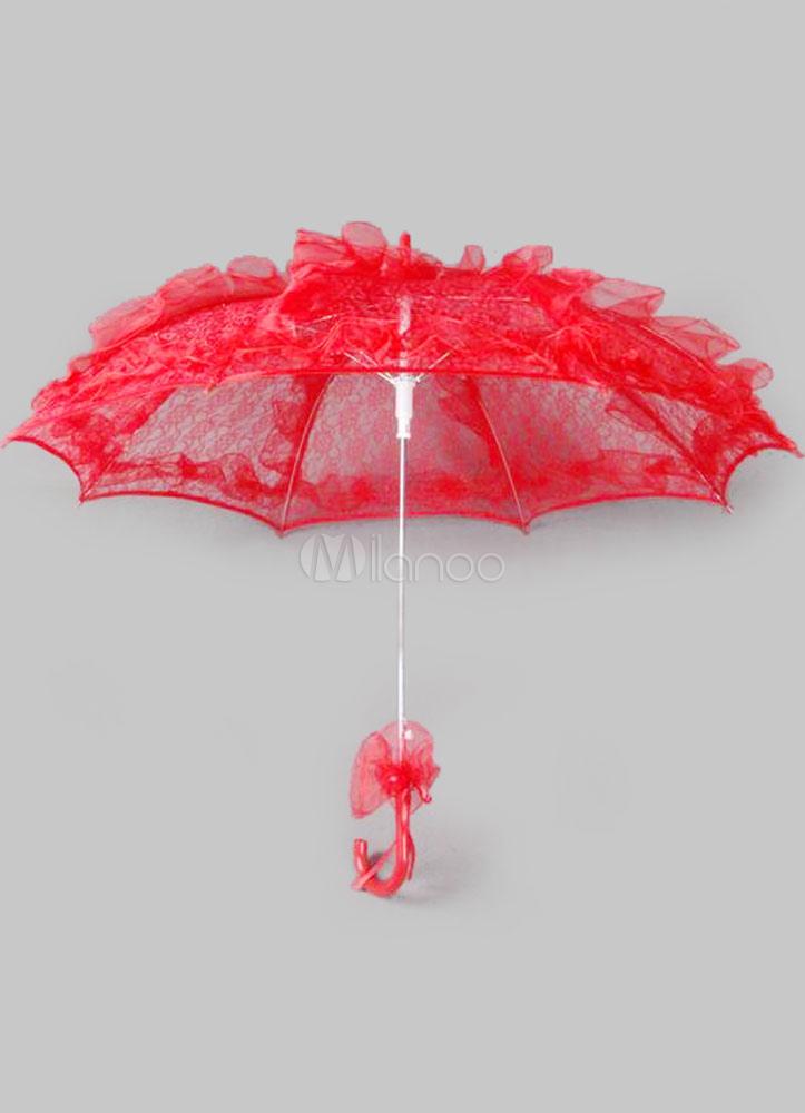 Mariage rouge parapluie accessoires mari e fleur dentelle for Accessoire deco rouge