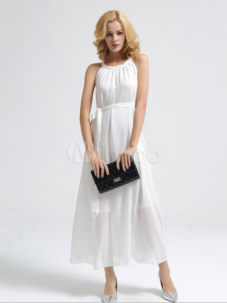 Maxi Dress Jewel Neck Sleeveless Semi-sheer Bohemian Dress (Women\\'s Clothing Maxi Dresses) photo