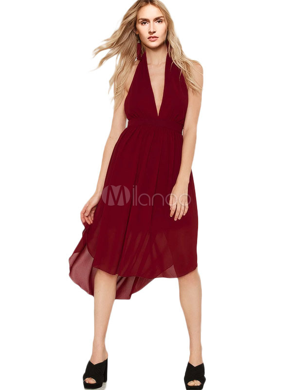 Sexy Mullet Dress Halter Plunging Chiffon Dress (Women\\'s Clothing Skater Dresses) photo
