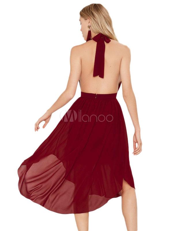 mulet sexy robe dos nu plongeant en mousseline de soie robe. Black Bedroom Furniture Sets. Home Design Ideas