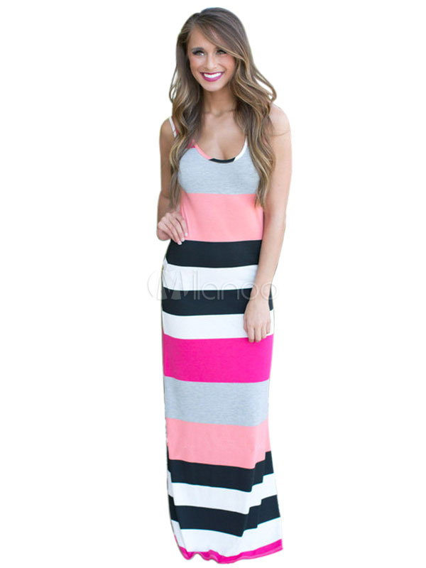 Maxi Dress U-neck Color Block Bohemian Tank Dress