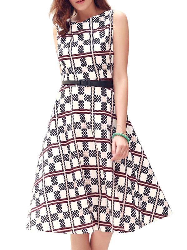 Sleeveless Plaid Zipper Sash Vintage Dress