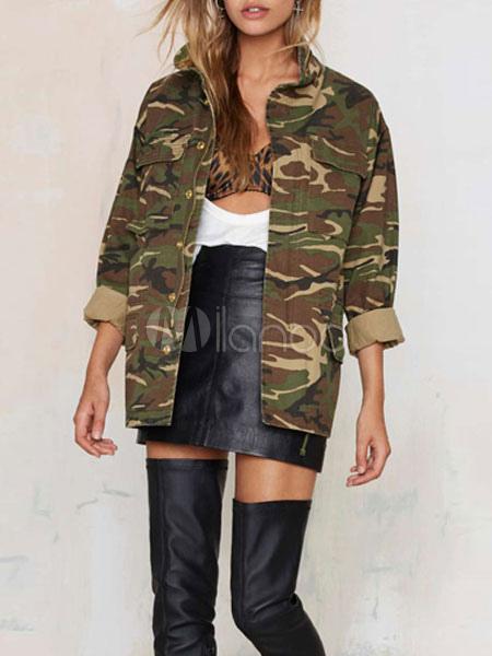 manteau femme camouflage long sleeve surdimensionn jacket. Black Bedroom Furniture Sets. Home Design Ideas