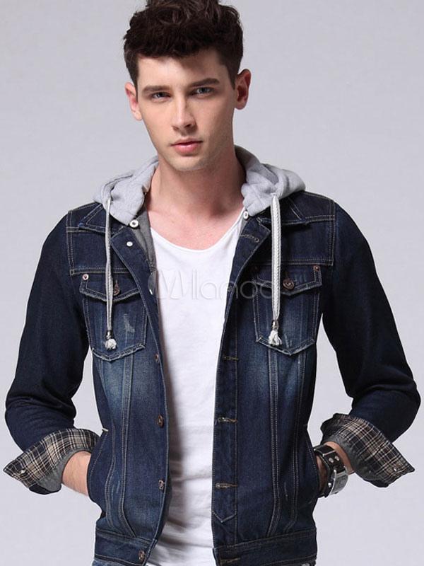 Men's Denim Jacket Dark Wash Blue Slim Hooded Outwear