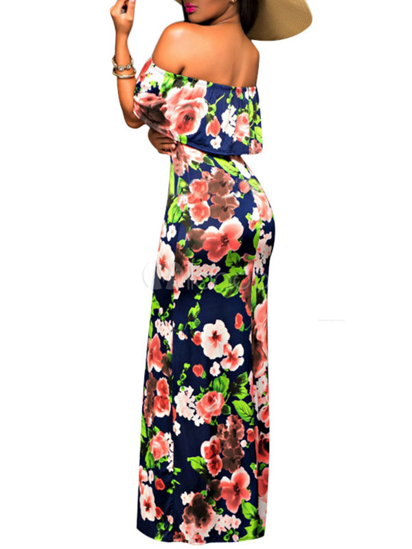 blau floral print maxi kleid aus den sommer lang kleid. Black Bedroom Furniture Sets. Home Design Ideas
