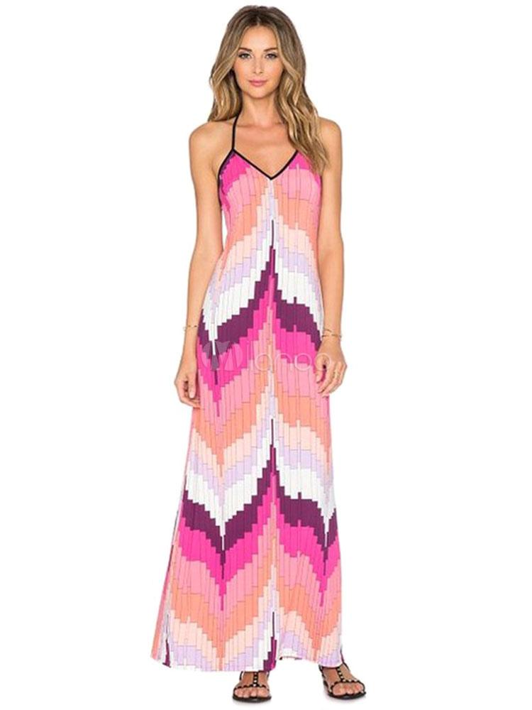 Halter Maxi Dress Pink Printed Summer Slip Dress (Women\\'s Clothing Maxi Dresses) photo