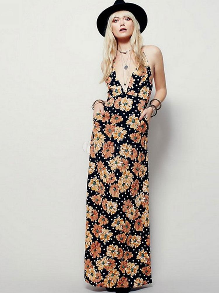 Halter Maxi Dress Plunge Neck Floral Print Summer Long Dress (Women\\'s Clothing Maxi Dresses) photo