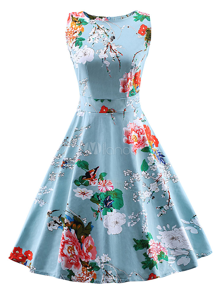 Blue Vintage Dress Floral Print Summer Party Dress (Women\\'s Clothing Vintage Dresses) photo