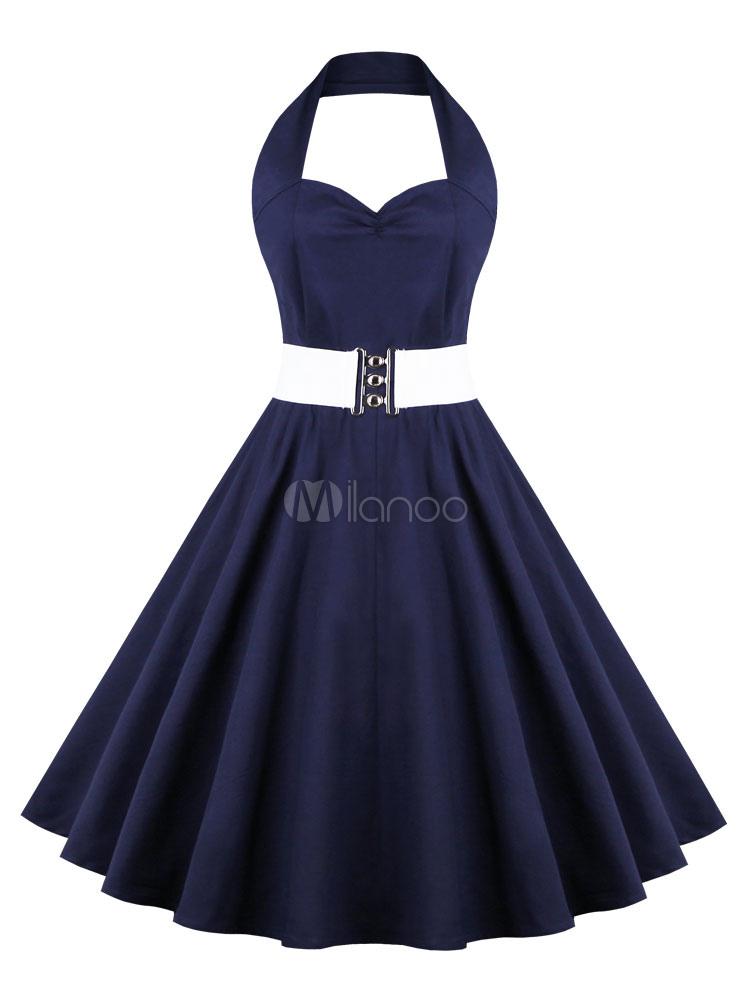 Halter Vintage Dress Deep Blue Party Dress (Women\\'s Clothing Vintage Dresses) photo