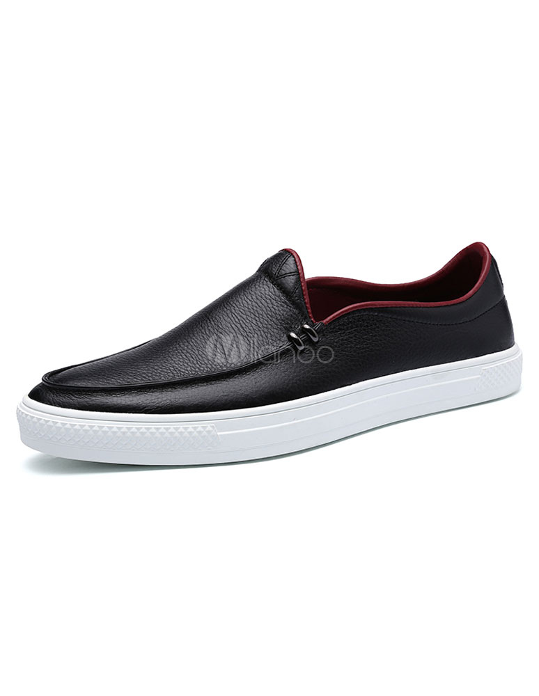 black s loafers stitching slip on leather casual shoes