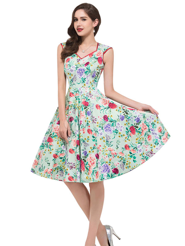 Breen Sleeveless Floral Dress Vintage Dress (Women\\'s Clothing Vintage Dresses) photo