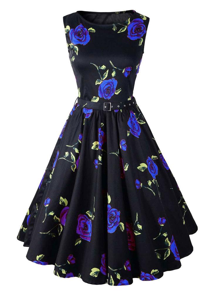 Black Dress Floral Print Sleeveless Vintage Dress (Women\\'s Clothing Vintage Dresses) photo