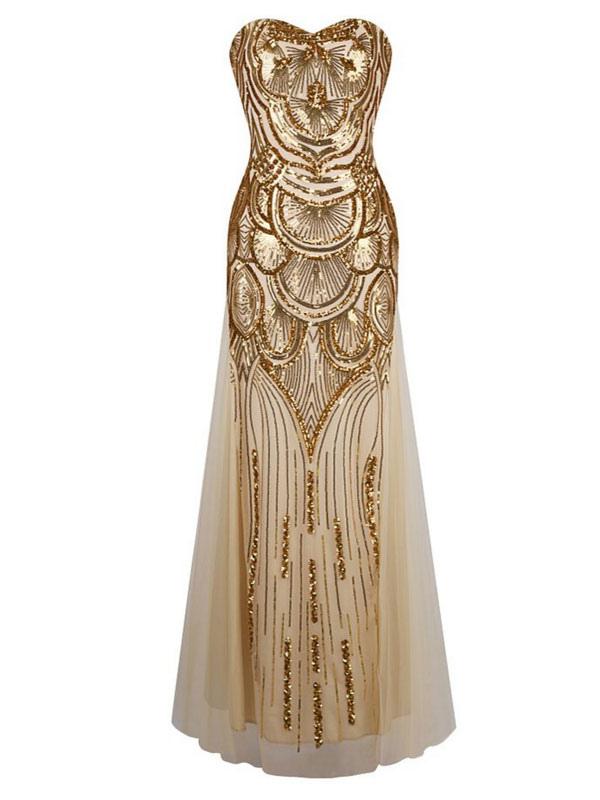 Vintage Prom Dresses Gold Sequin Strapless 1920s Flapper Dress Maxi Evening Dress
