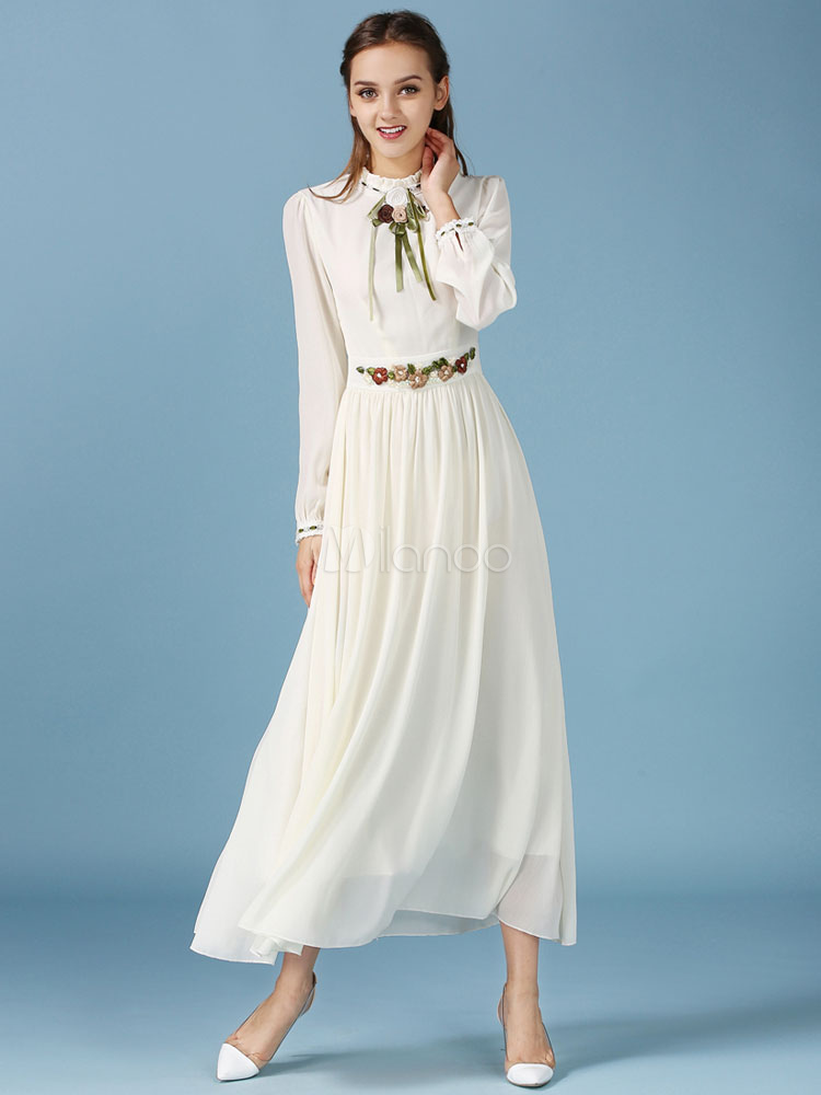 manches longues maxi robe mousseline t robe vintage. Black Bedroom Furniture Sets. Home Design Ideas