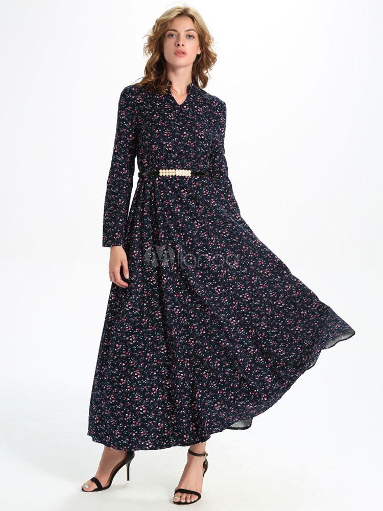 manches longues pliss robes f minines imprim jupe longue. Black Bedroom Furniture Sets. Home Design Ideas
