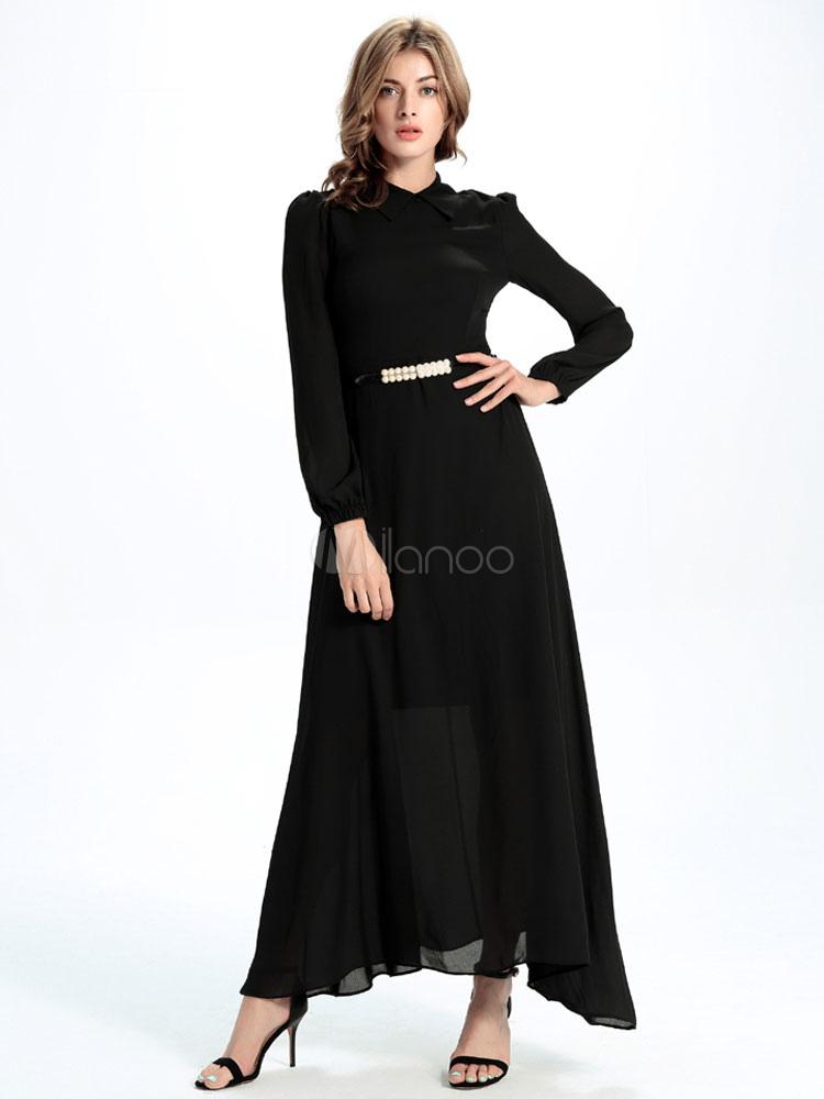 manches longues maxi robe en mousseline de soie robe noir. Black Bedroom Furniture Sets. Home Design Ideas