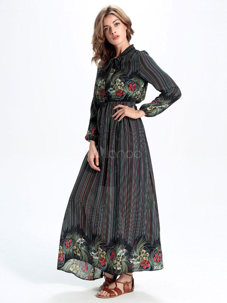 maxi robe manches longues avec bow cou mousseline de soie robe longue imprim e. Black Bedroom Furniture Sets. Home Design Ideas