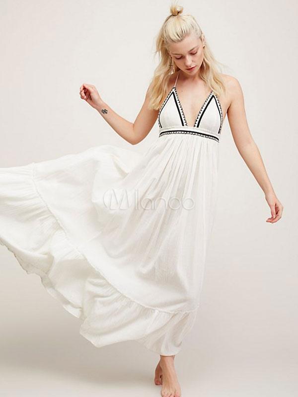 Halter Summer Maxi Dress Plunge Neck Backless Sexy Long Dress (Women\\'s Clothing Maxi Dresses) photo