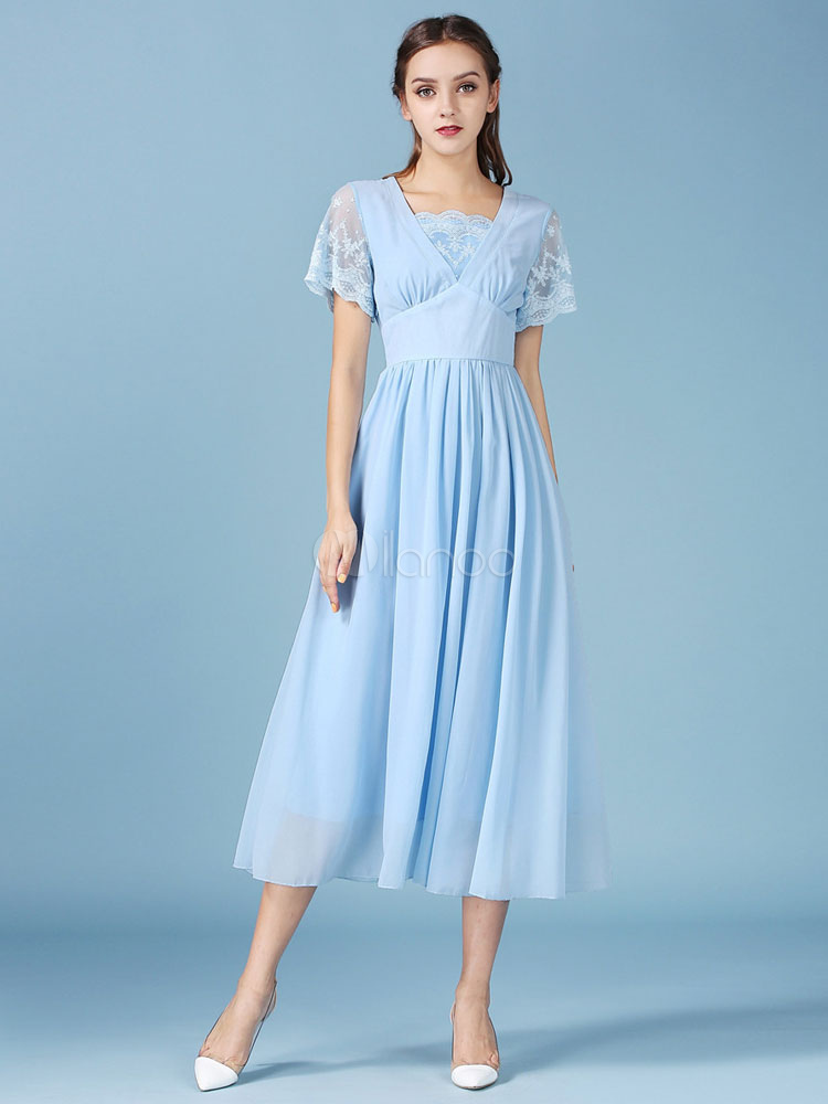 light blue summer long dress lace chiffon short sleeves maxi dress. Black Bedroom Furniture Sets. Home Design Ideas