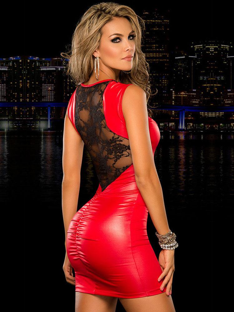 Sexy Club Dress 2018 Red Lace Sleeveless Slim Fit PU Bodycon Dress (Women\\'s Clothing Club Dresses) photo