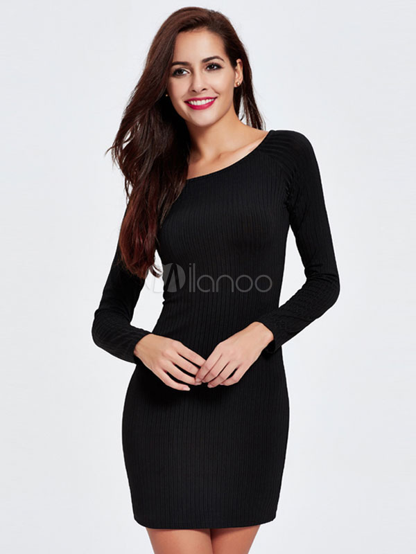 Black Bodycon Dresses Women's Long Sleeve Knit Sweater Dresses