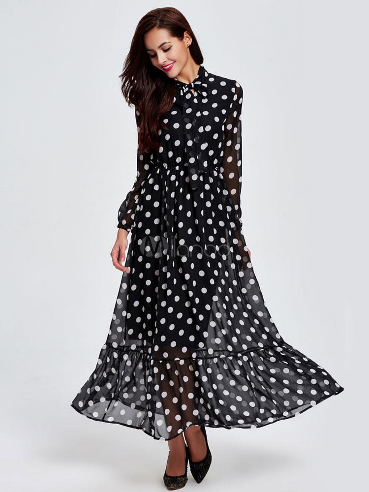 manches longues pois f minin robes maxi collier orn noir robes en mousseline de soie. Black Bedroom Furniture Sets. Home Design Ideas