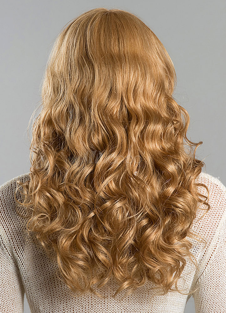 Long Wigs Blonde Human Hair Wave Women S Curly Real Hair