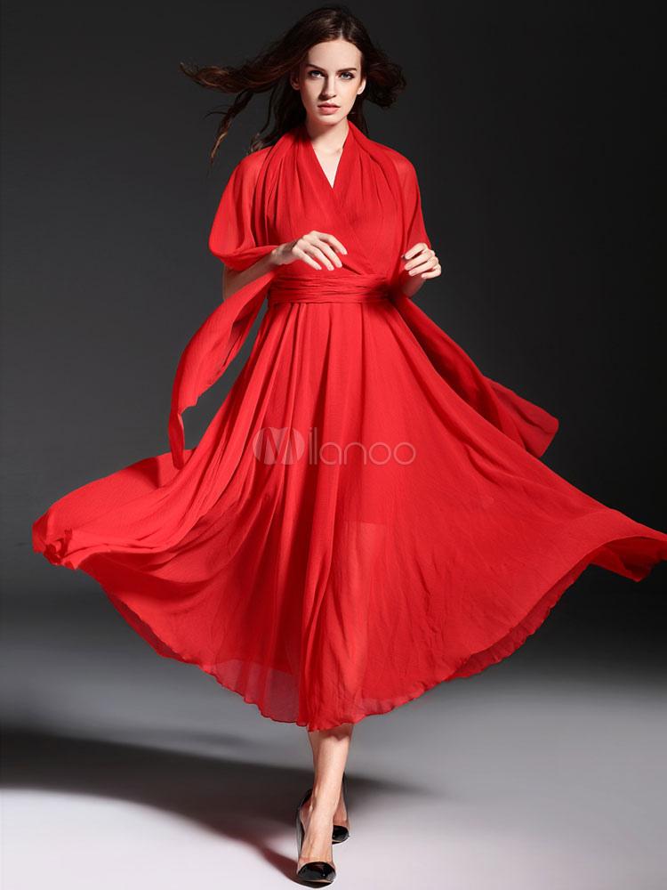 ensemble rouge maxi robe pliss e en mousseline de soie robe sans manches col v criss cross. Black Bedroom Furniture Sets. Home Design Ideas