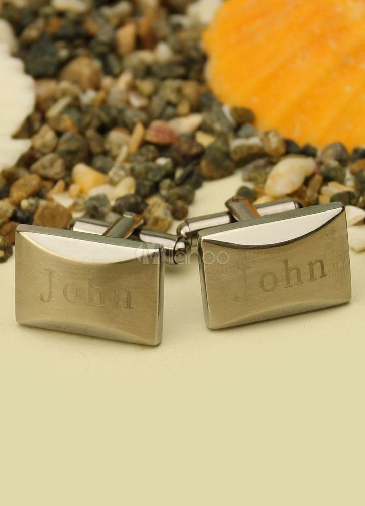 Personalized Silver Cufflinks Men's Wedding Cufflinks Shirt Cufflinks (box? X 3.5 X 2.5 Cm ) thumbnail
