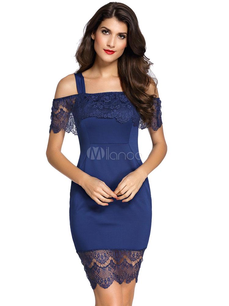 Navy Lace Dress Cold Shoulder Short Sleeve Midi Dress (Women\\'s Clothing Bodycon Dresses) photo