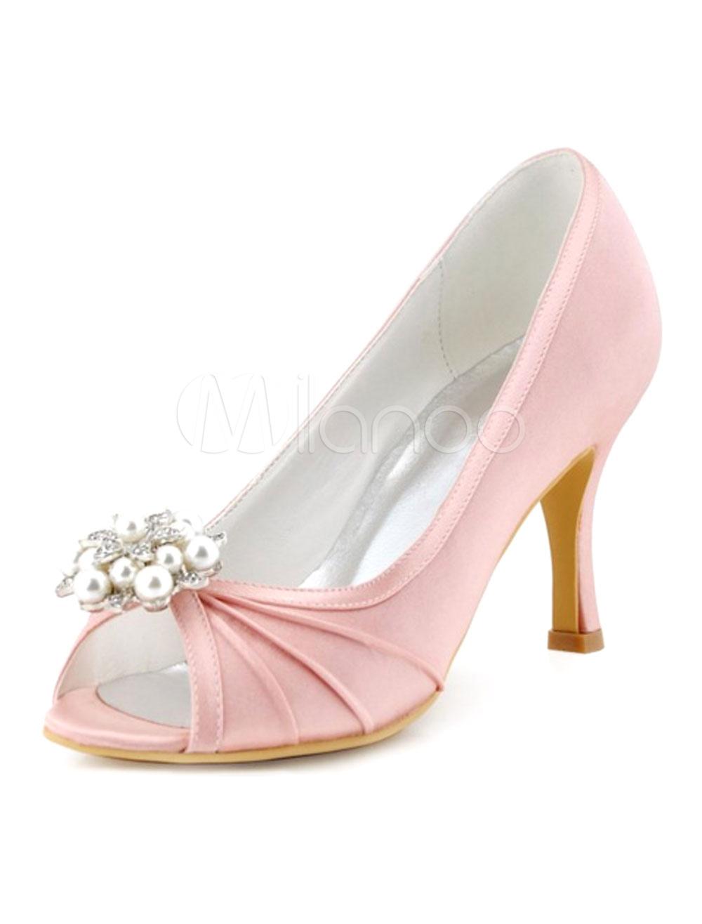 Pink Wedding Shoes Peep Toe Pearl Crystal Slip On High Heel Bridal Shoes