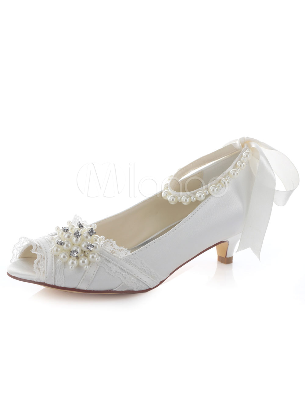 Ivory Wedding Shoes Peep Toe Bow Pearl Slip On Ankle Strap Kitten Heel Bridal Shoes