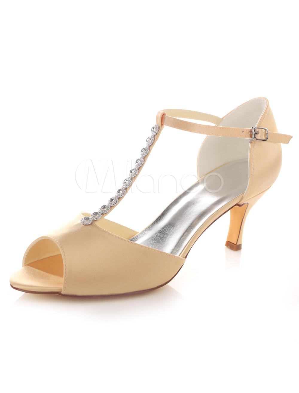 Peep Wedding Shoes Rhinestones T-strap High Heel Bridal Shoes