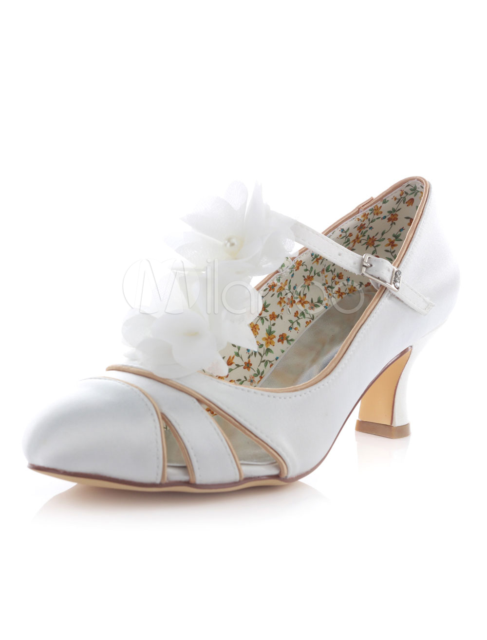 Women's Wedding Shoes High Heel Cut Out T-Type Bandage Chunky Bridal Shoes