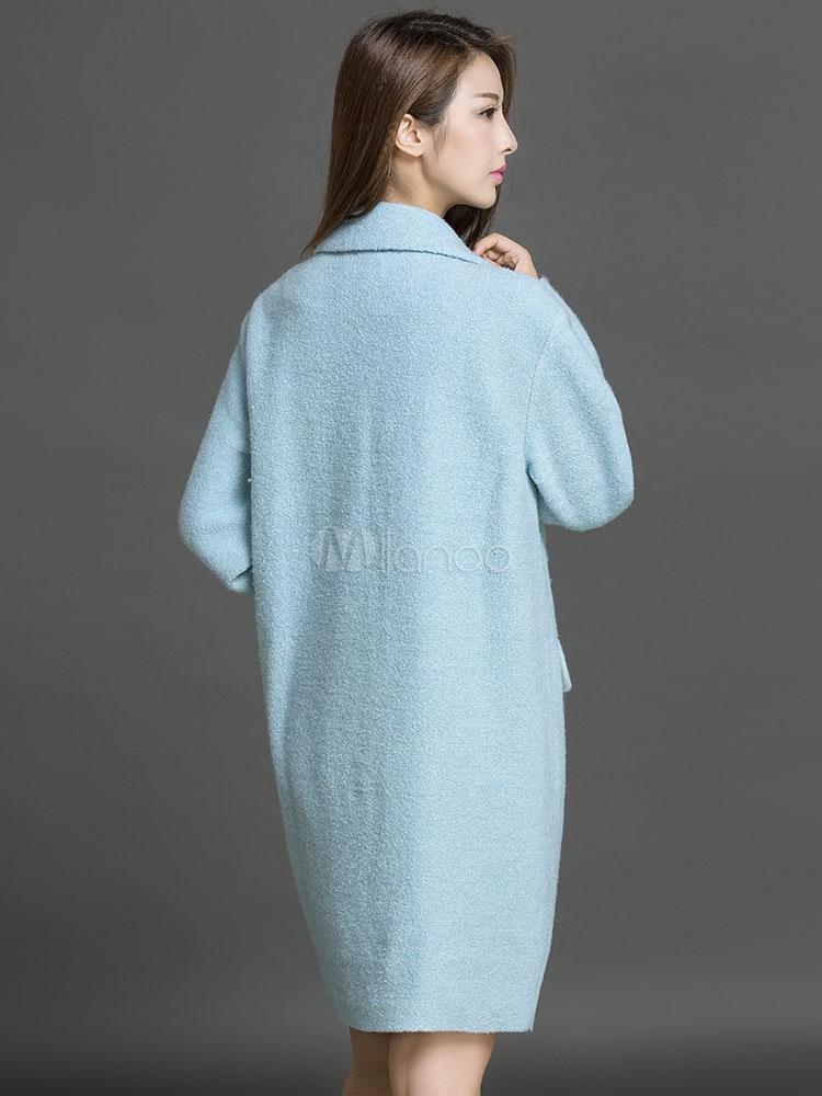 wintermantel damen langarm bergro en mantel blau. Black Bedroom Furniture Sets. Home Design Ideas