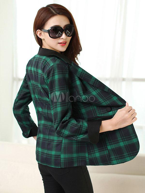 plaided blazer vert coton manches longues notch collier bouton veste femmes avec poches. Black Bedroom Furniture Sets. Home Design Ideas