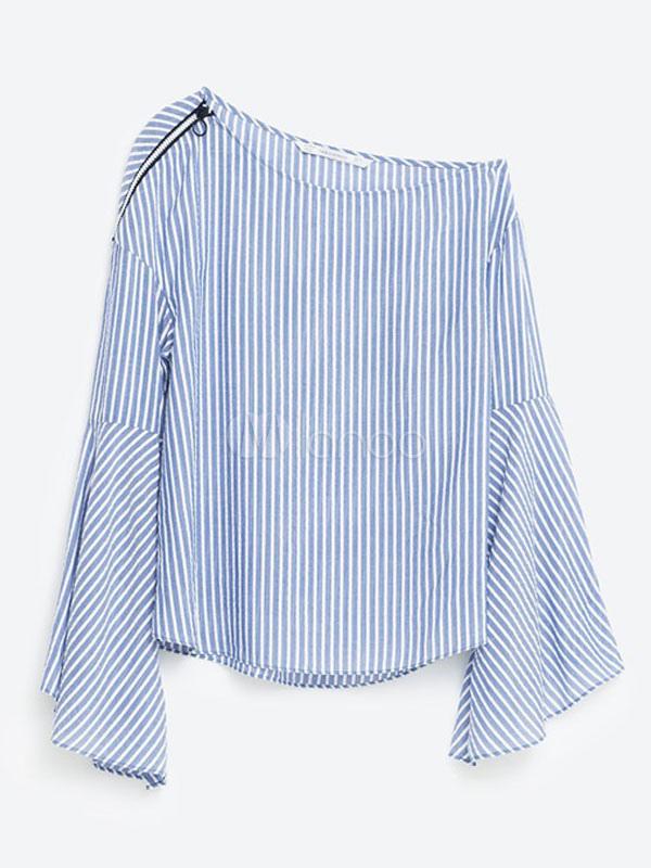 Camicie a strisce oplique spalla manica palloncino donna for Nuovi piani domestici