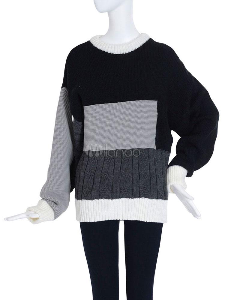 schwarz stricken pullover geometrische muster pullover. Black Bedroom Furniture Sets. Home Design Ideas