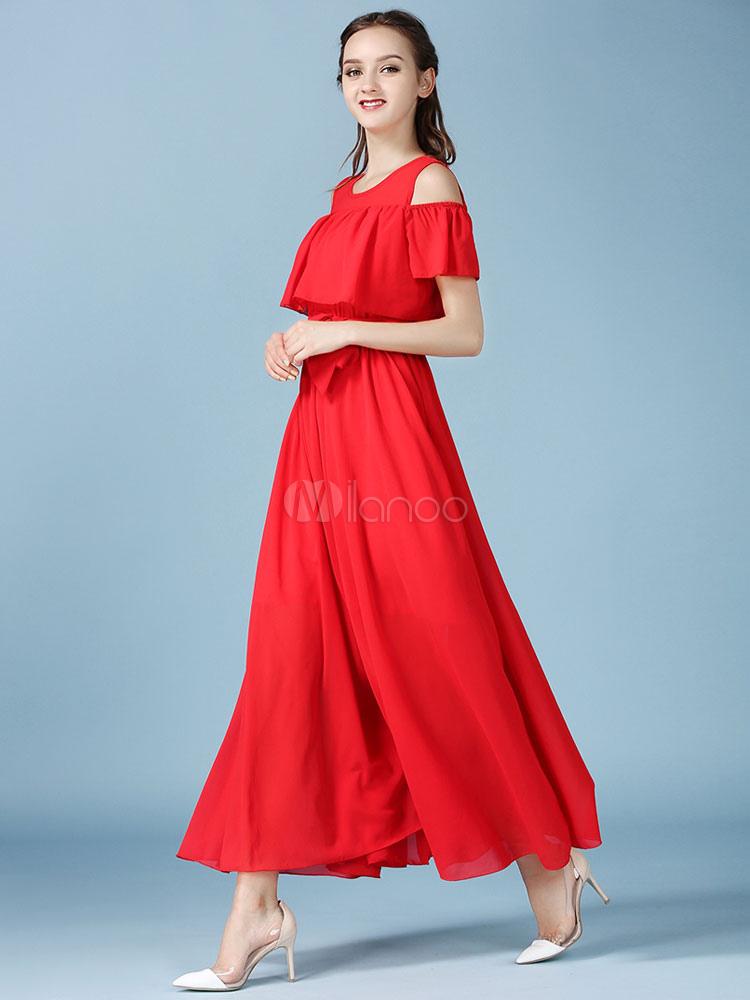 Lange chiffon kleider ab schulter kurzarm gef lschte - Lange elegante kleider ...