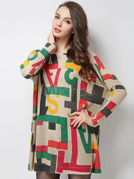Oversized Sweater Dress Cotton Long Sleeve Printed Women's Knitted Dress
